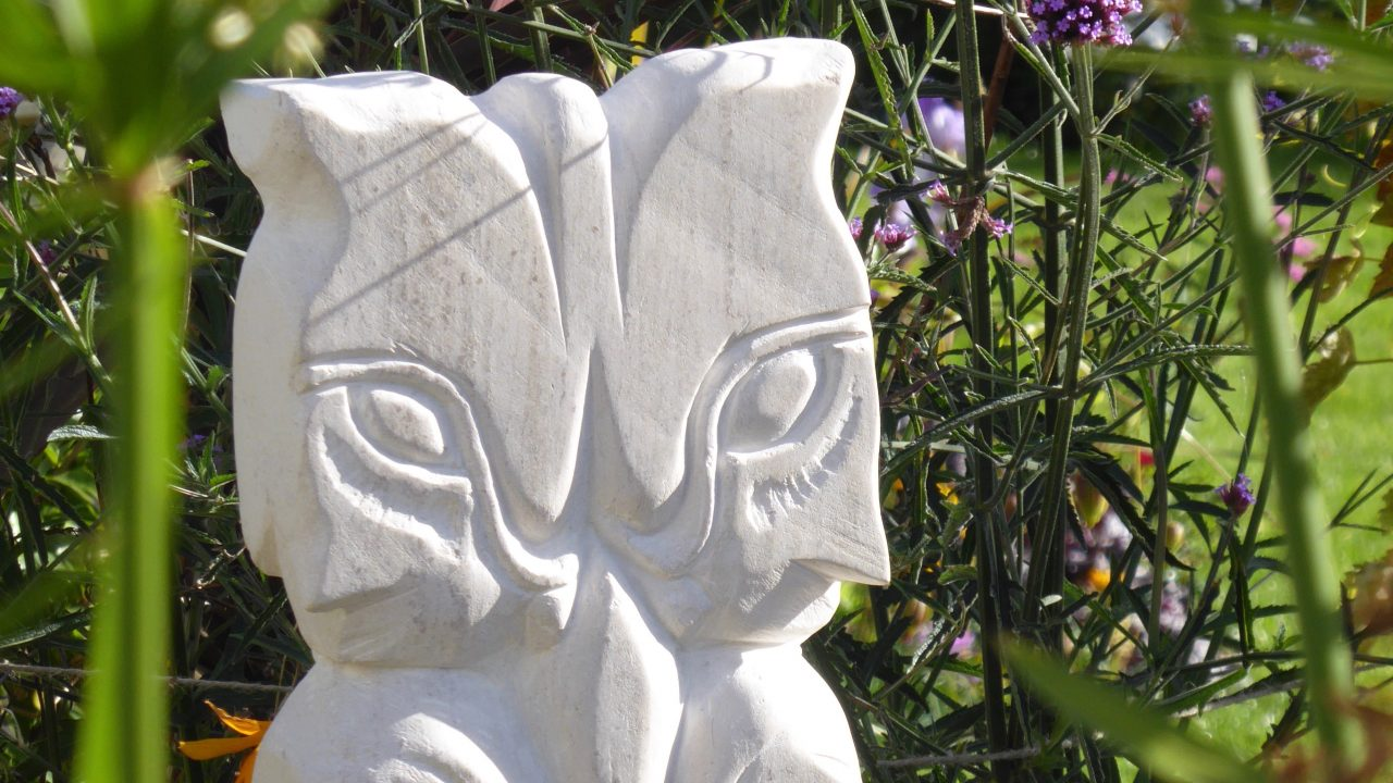 detail of wood spirit, limestone